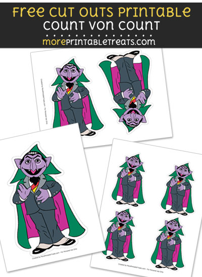Free Count von Count Cut Out Printable with Dotted Lines - Sesame Street