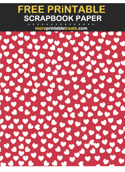 Free Printable Cranberry Red Heart Confetti Scrapbook Paper