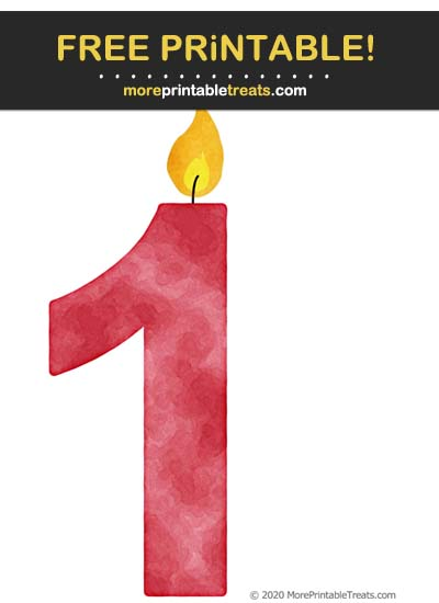 Free Printable Cranberry Red Watercolor Birthday Candle Number 1 Cut Out