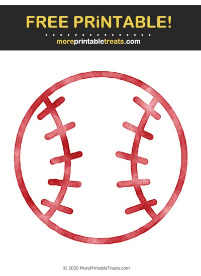 Free Printable Crimson Red Watercolor Baseball Icon Cut Out