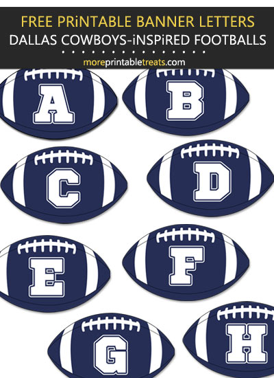Free Printable Dallas Cowboys-Inspired Football Banner Letters