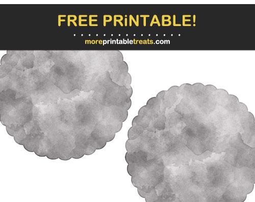Free Printable Dark Gray Watercolor Scalloped Circles