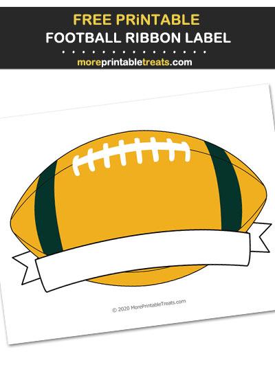 Free Printable Dark Green and Gold Football Ribbon Label