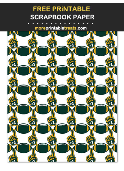 Free Printable Dark Green and Gold Foam Finger Football Scrapbook Paper