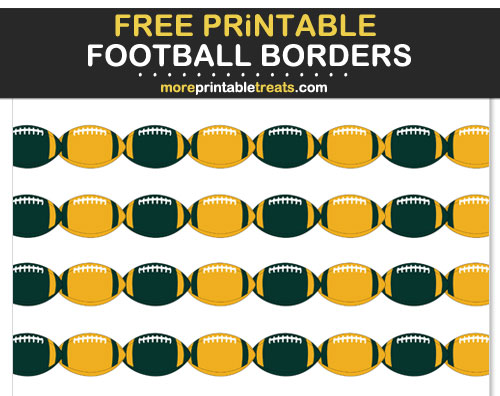 Free Printable Dark Green and Gold Football Borders for Scrapbooks, Bulletin Boards, and Sign Decorating - Go Packers!