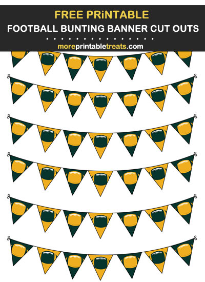 Free Printable Dark Green and Gold Football Bunting Banners Cut Outs - Go Packers!