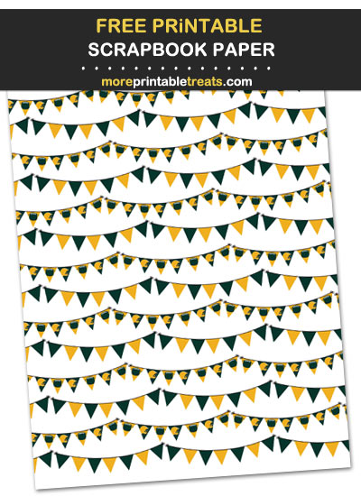 Free Printable Dark Green and Gold Pennant Banners Scrapbook Paper