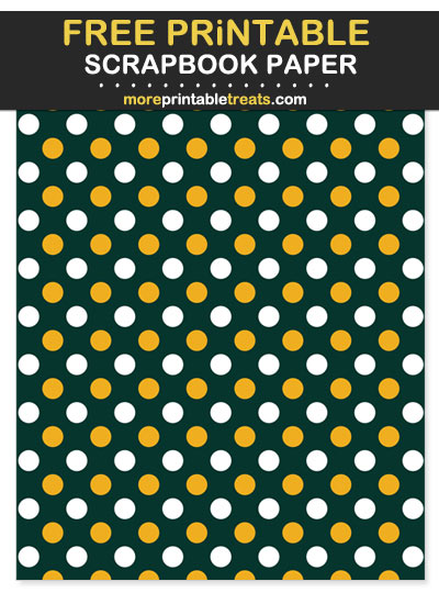 Free Printable Dark Green and Gold Polka Dot Scrapbook Paper - For Packers Football Fan Crafting!