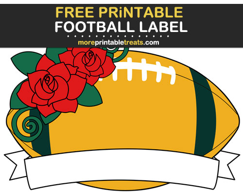 Free Printable Dark Green and Gold Football Ribbon Label for Signs, Food Labels, Gift Tags - Go Packers!