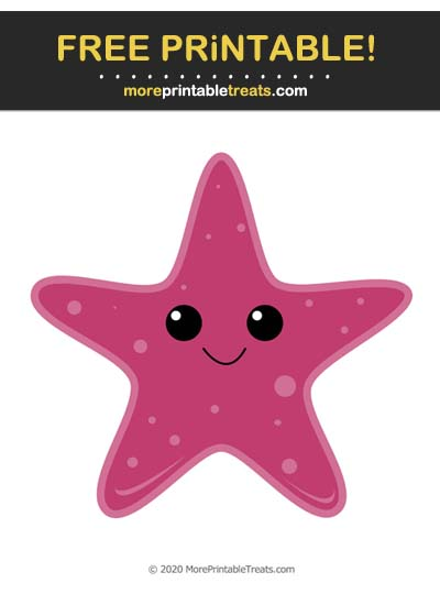 Free Printable Dark Pink Cartoon Starfish Cut Out