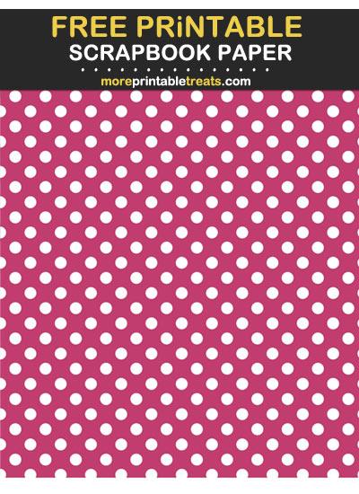 Free Printable Dark Pink Polka Dot Scrapbook Paper