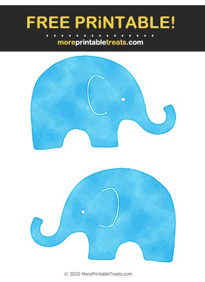 Free Printable Deep Sky Blue Saturated Watercolor Baby Elephant Cut Outs