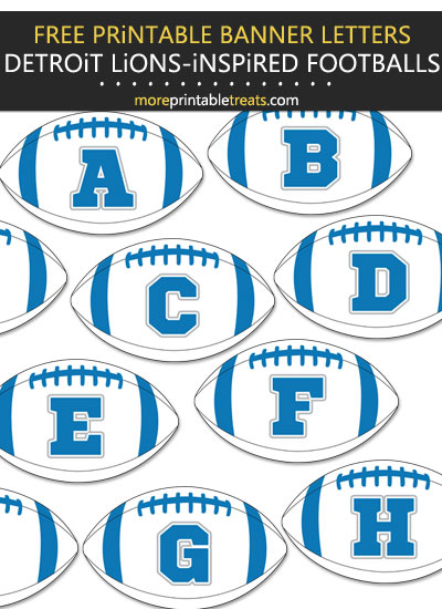 Free Printable Detroit Lions-Inspired Football Bunting Banner