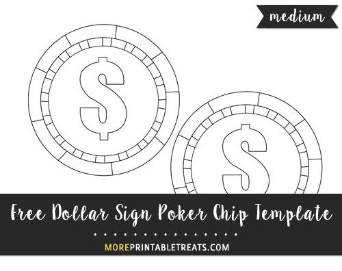 Free Dollar Sign Poker Chip Template - Medium Size