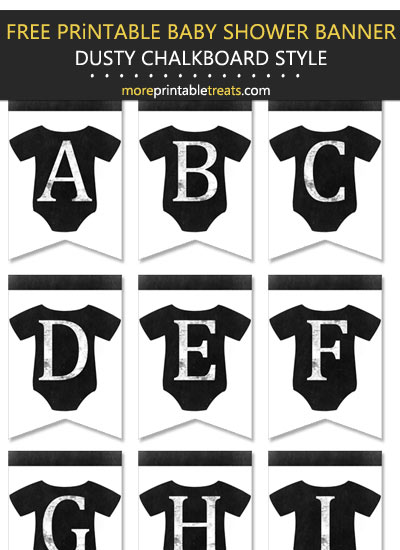 DIY Printable Dusty Chalkboard Style Baby Onesie Baby Shower Bunting Banner