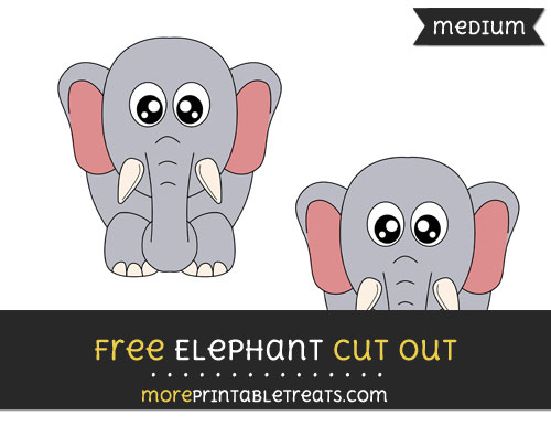 Free Elephant Cut Out - Medium Size Printable
