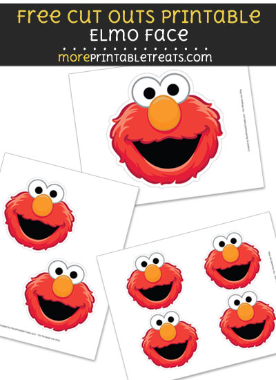 Free Elmo Face Cut Out Printable with Dashed Lines - Sesame Street