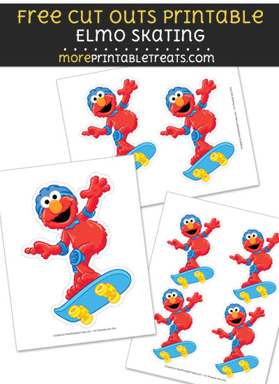 Free Elmo Skating Cut Out Printable with Dashed Lines - Sesame Street