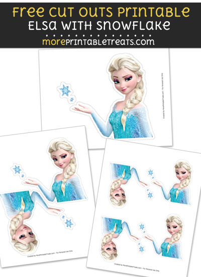 Free Elsa with Snowflake Cut Out Printable with Dashed Lines - Frozen