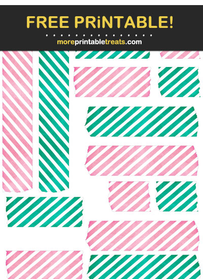 Free Printable Emerald Green and Flamingo Pink Watercolor Washi Tape