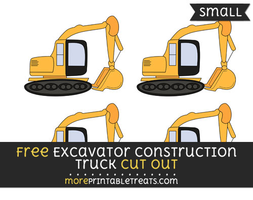 Free Excavator Construction Truck Cut Out - Small Size Printable