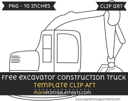Free Excavator Construction Truck Template - Clipart