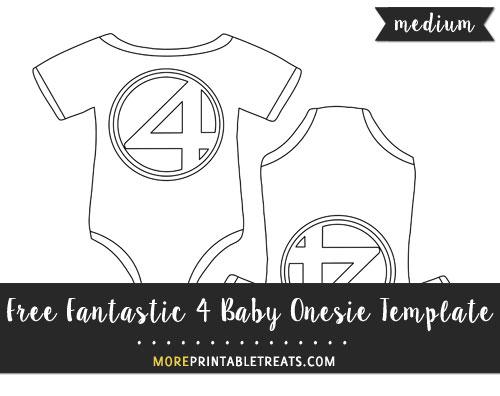 Free Fantastic 4 Baby Onesie Template - Medium Size