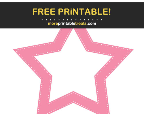 Free Printable Flamingo Pink Stitched Star Frame