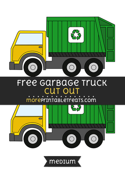 Free Garbage Truck Cut Out - Medium Size Printable