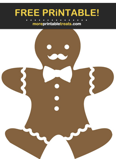 Free Printable Gingerbread Cookie Mustache Man Cut Out