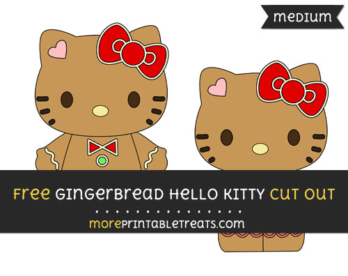 Free Gingerbread Hello Kitty Cut Out - Medium Size Printable
