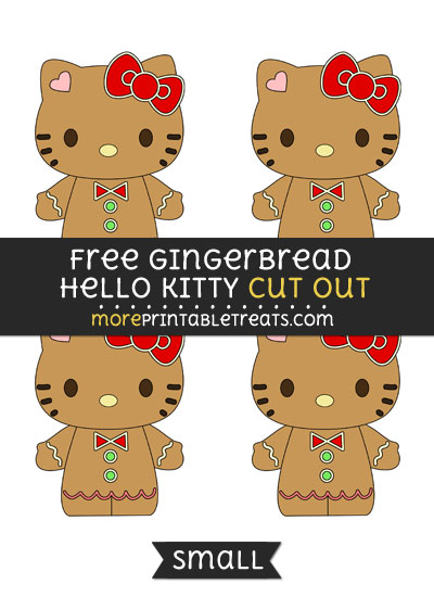 Free Gingerbread Hello Kitty Cut Out - Small Size Printable