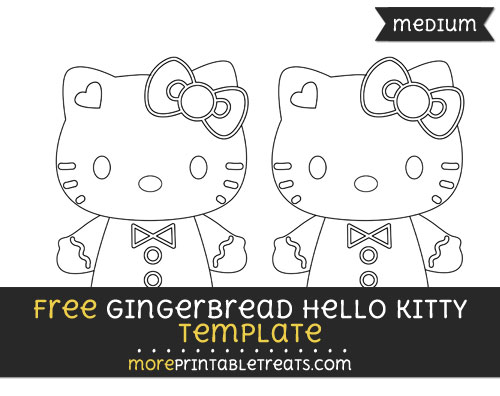 Free Gingerbread Hello Kitty Template - Medium
