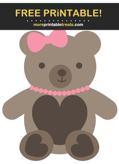 Free Printable Girl Teddy Bear Cut Out
