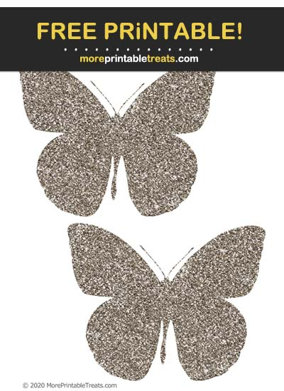 Free Printable Glittery Ash Brown Butterfly Cut Outs