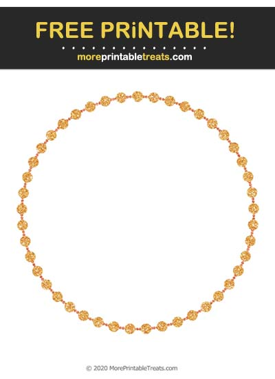 Free Printable Glittery Carrot Orange Beaded Circle Frame Cut Out