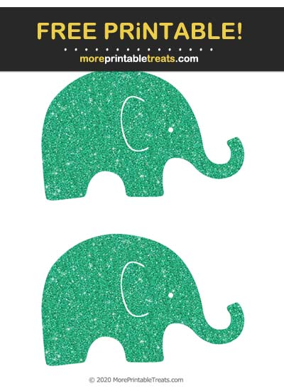 Free Printable Glittery Emerald Green Baby Elephant Cut Outs