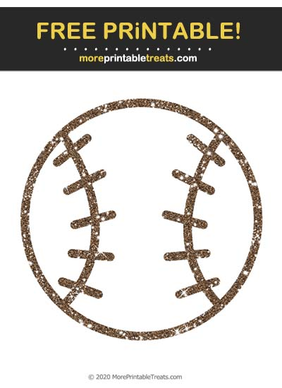 Free Printable Glittery Espresso Brown Baseball Icon Cut Out