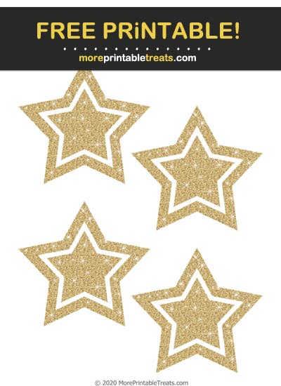 Free Printable Glittery Gold Double Star Cut Outs