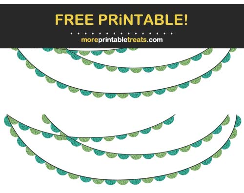 Free Printable Glittery Green Scalloped Bunting Banner Cut Outs