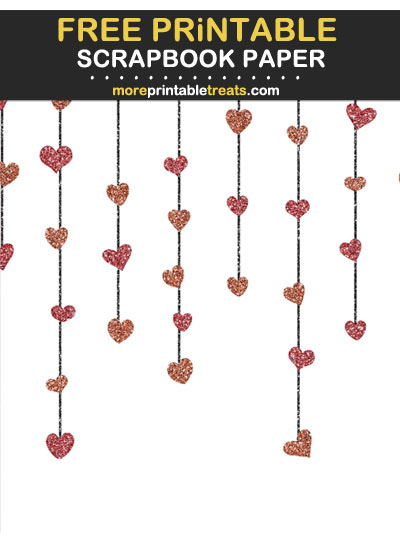 Free Printable Glittery Maroon Hanging Heart Garlands Scrapbook Paper
