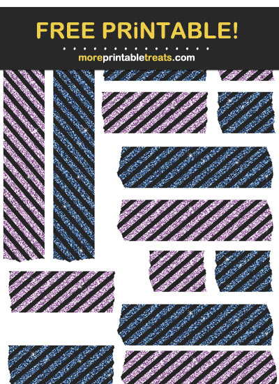 Free Printable Glittery Navy Blue and Amethyst Purple Washi Tape