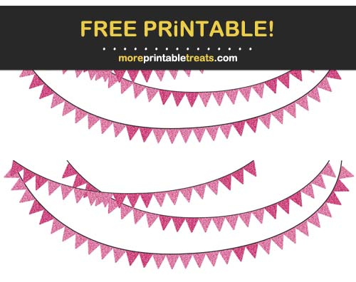Free Printable Glittery Pink Bunting Banner Cut Outs
