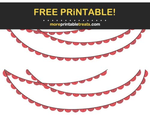 Free Printable Glittery Red Scalloped Bunting Banner Cut Outs