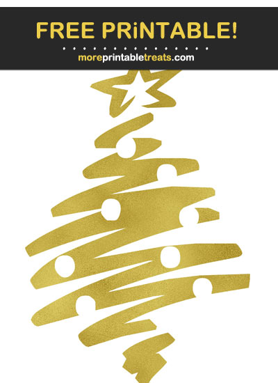 Free Printable Gold Foil Christmas Tree Cut Out