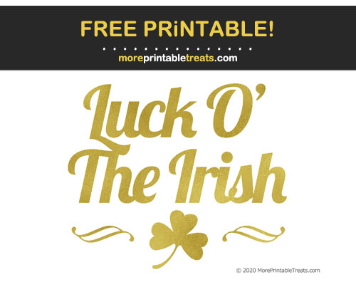 Free Printable Gold Foil St. Patrick's Day Cut Out
