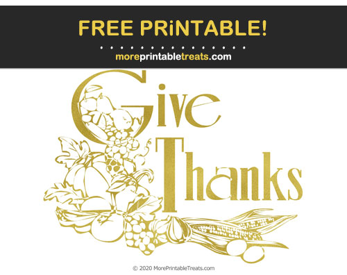 Free Printable Gold Foil Thanksgiving Give Thanks Sign