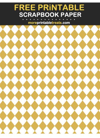 Free Printable Gold Harlequin Scrapbook Paper