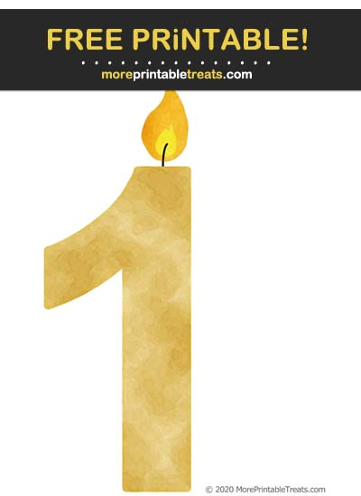Free Printable Gold Watercolor Birthday Candle Number 1 Cut Out