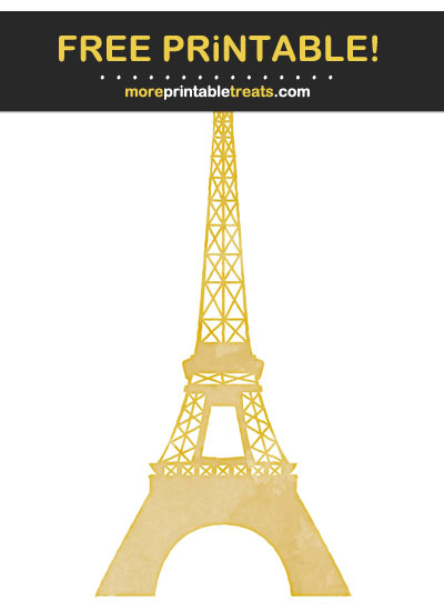 Free Printable Gold Watercolor Eiffel Tower